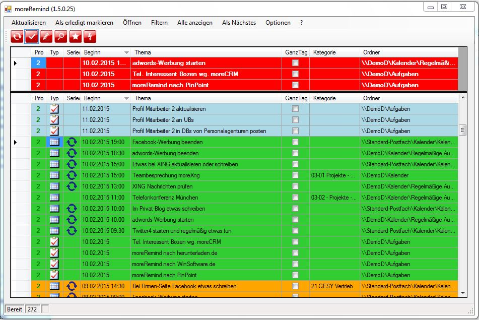 Übersichtliche Liste ihrer Aufgaben und Termine in Outlook, Filtern und Sortieren, Erledigtes mit wenigen Mausklicks als erledigt markieren
